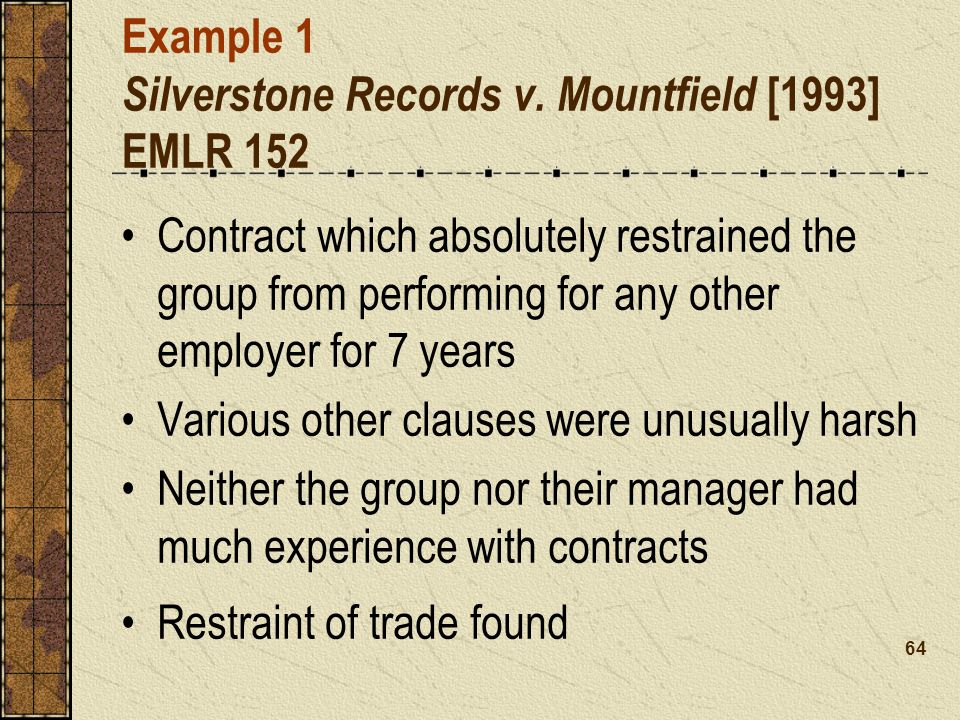 Example 1 Silverstone Records v. Mountfield [1993] EMLR 152